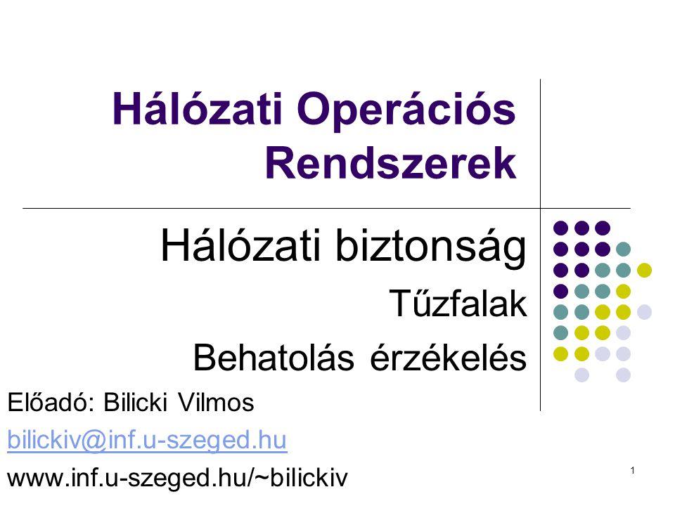 1 Hálózati Operációs Rendszerek Hálózati biztonság Tűzfalak Behatolás érzékelés Előadó: Bilicki Vilmos bilickiv@inf.u-szeged.hu www.inf.u-szeged.hu/~bilickiv