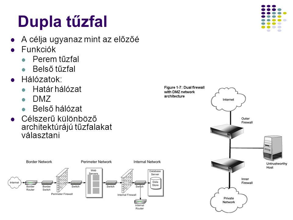 16 Dupla tűzfal A célja ugyanaz mint az előzőé Funkciók Perem tűzfal Belső tűzfal Hálózatok: Határ hálózat DMZ Belső hálózat Célszerű különböző architektúrájú tűzfalakat választani