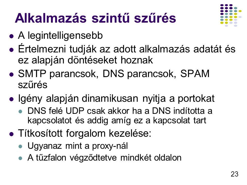 23 Alkalmazás szintű szűrés A legintelligensebb Értelmezni tudják az adott alkalmazás adatát és ez alapján döntéseket hoznak SMTP parancsok, DNS parancsok, SPAM szűrés Igény alapján dinamikusan nyitja a portokat DNS felé UDP csak akkor ha a DNS indította a kapcsolatot és addig amíg ez a kapcsolat tart Títkosított forgalom kezelése: Ugyanaz mint a proxy-nál A tűzfalon végződtetve mindkét oldalon