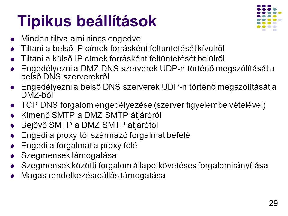 29 Tipikus beállítások Minden tiltva ami nincs engedve Tiltani a belső IP címek forrásként feltüntetését kívülről Tiltani a külső IP címek forrásként feltüntetését belülről Engedélyezni a DMZ DNS szerverek UDP-n történő megszólítását a belső DNS szerverekről Engedélyezni a belső DNS szerverek UDP-n történő megszólítását a DMZ-ből TCP DNS forgalom engedélyezése (szerver figyelembe vételével) Kimenő SMTP a DMZ SMTP átjáróról Bejövő SMTP a DMZ SMTP átjárótól Engedi a proxy-tól származó forgalmat befelé Engedi a forgalmat a proxy felé Szegmensek támogatása Szegmensek közötti forgalom állapotkövetéses forgalomirányítása Magas rendelkezésreállás támogatása