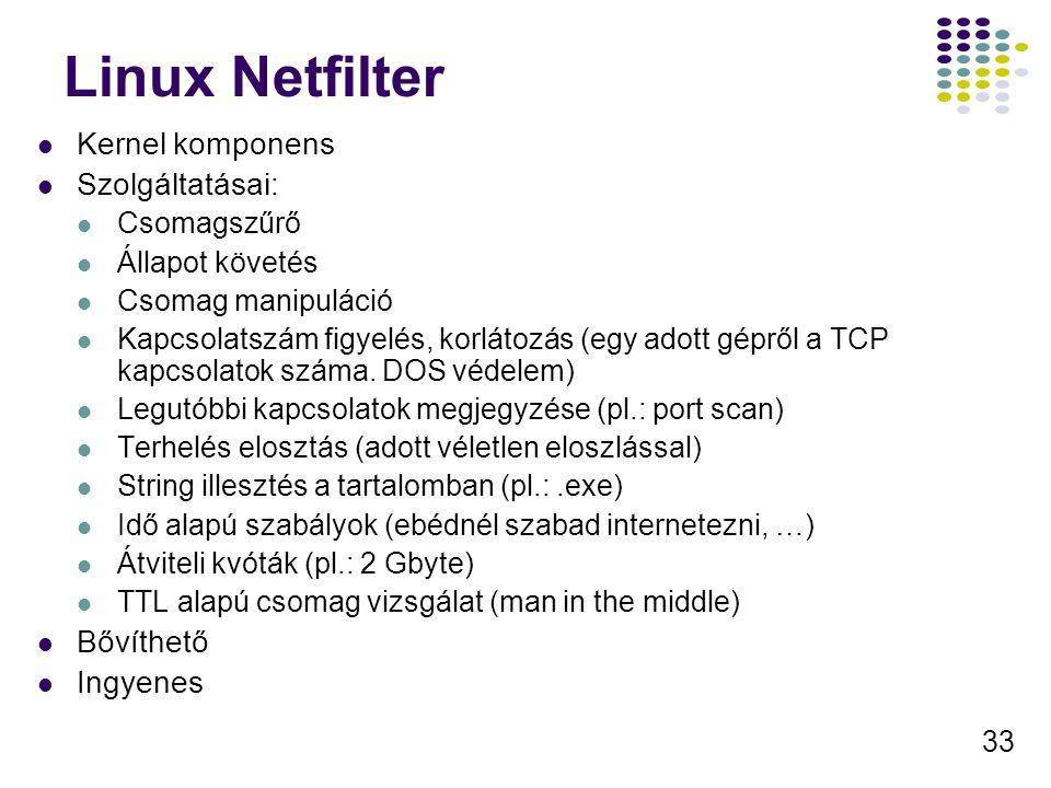 33 Linux Netfilter Kernel komponens Szolgáltatásai: Csomagszűrő Állapot követés Csomag manipuláció Kapcsolatszám figyelés, korlátozás (egy adott gépről a TCP kapcsolatok száma.