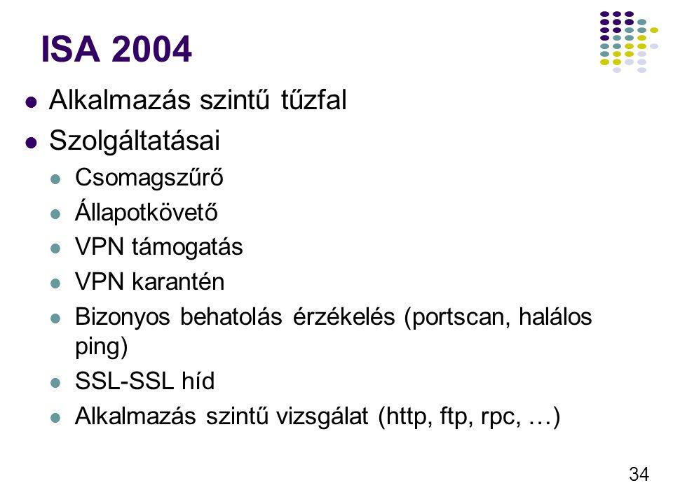 34 ISA 2004 Alkalmazás szintű tűzfal Szolgáltatásai Csomagszűrő Állapotkövető VPN támogatás VPN karantén Bizonyos behatolás érzékelés (portscan, halálos ping) SSL-SSL híd Alkalmazás szintű vizsgálat (http, ftp, rpc, …)