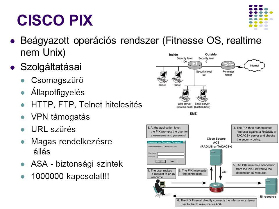 35 CISCO PIX Beágyazott operációs rendszer (Fitnesse OS, realtime nem Unix) Szolgáltatásai Csomagszűrő Állapotfigyelés HTTP, FTP, Telnet hitelesités VPN támogatás URL szűrés Magas rendelkezésre állás ASA - biztonsági szintek 1000000 kapcsolat!!!