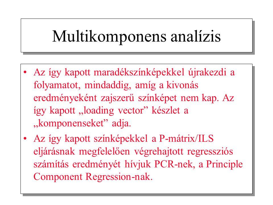 Multikomponens analízis Az így kapott maradékszínképekkel újrakezdi a folyamatot, mindaddig, amíg a kivonás eredményeként zajszerű színképet nem kap.