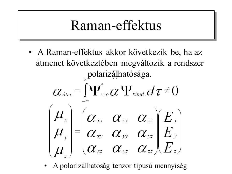 A Raman-effektus akkor következik be, ha az átmenet következtében megváltozik a rendszer polarizálhatósága.