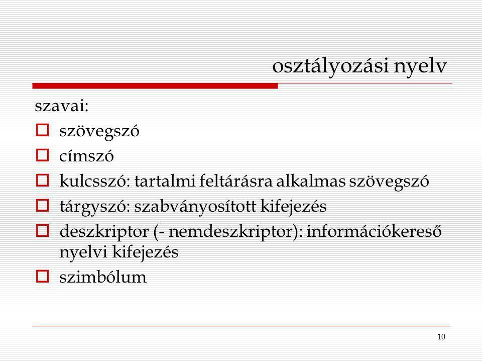 10 osztályozási nyelv szavai:  szövegszó  címszó  kulcsszó: tartalmi feltárásra alkalmas szövegszó  tárgyszó: szabványosított kifejezés  deszkrip