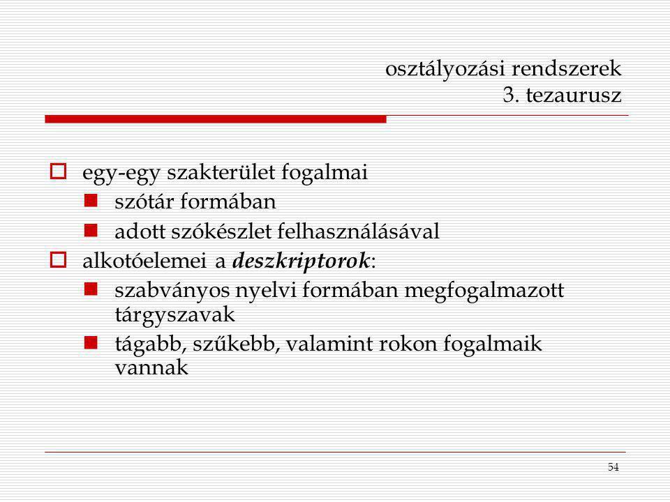 54 osztályozási rendszerek 3. tezaurusz  egy-egy szakterület fogalmai szótár formában adott szókészlet felhasználásával  alkotóelemei a deszkriptoro