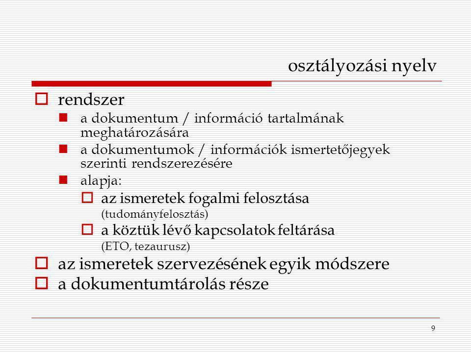 10 osztályozási nyelv szavai:  szövegszó  címszó  kulcsszó: tartalmi feltárásra alkalmas szövegszó  tárgyszó: szabványosított kifejezés  deszkriptor (- nemdeszkriptor): információkereső nyelvi kifejezés  szimbólum