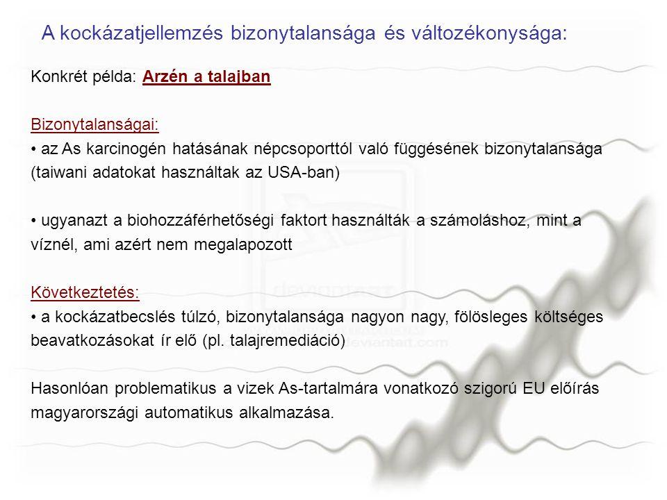 Konkrét példa: Arzén a talajban Bizonytalanságai: az As karcinogén hatásának népcsoporttól való függésének bizonytalansága (taiwani adatokat használta