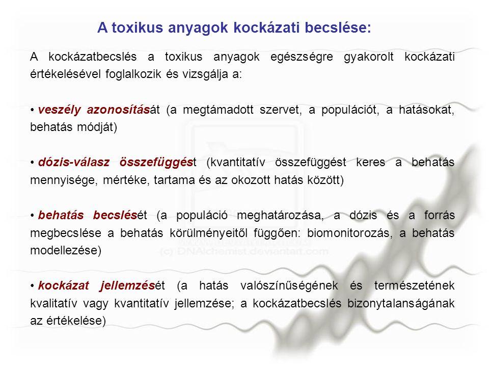 A veszély azonosítása a behatás ideje:akut, krónikus a behatás módja/útja: belégzés, emésztés az érintett populáció: gyermekek, férfiak, nők A kritikus hatás azonosítása As szerves-As: bizonyos tengeri élőlényekben sok fordul elő, emberi szervezetre nem ártalmas mert könnyen kiválasztja szervetlen-As: karcinogén (belélegezve tüdőrákot okoz; szájon át bejutva bőr- és egyéb rákfajtákat idéz elő) Hg szerves-Hg: igen toxikus és az idegrendszere hat szervetlen-Hg: kevésbé toxikus és a vesét támadja meg