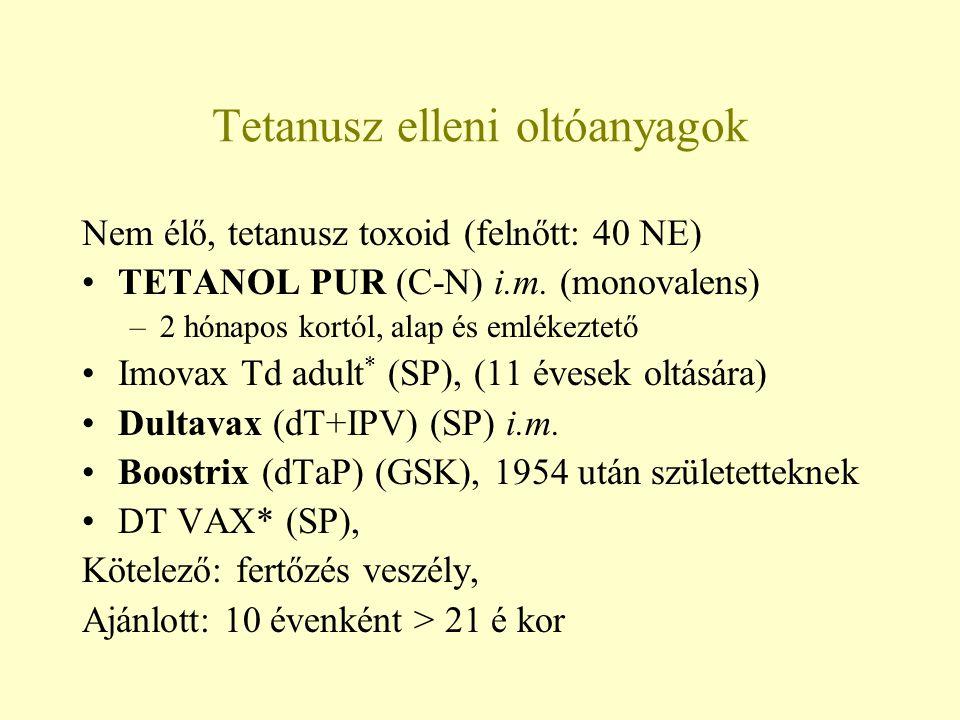 Tetanusz elleni oltóanyagok Nem élő, tetanusz toxoid (felnőtt: 40 NE) TETANOL PUR (C-N) i.m. (monovalens) –2 hónapos kortól, alap és emlékeztető Imova