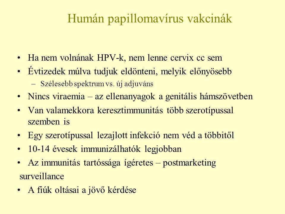 Humán papillomavírus vakcinák Ha nem volnának HPV-k, nem lenne cervix cc sem Évtizedek múlva tudjuk eldönteni, melyik előnyösebb –Szélesebb spektrum v