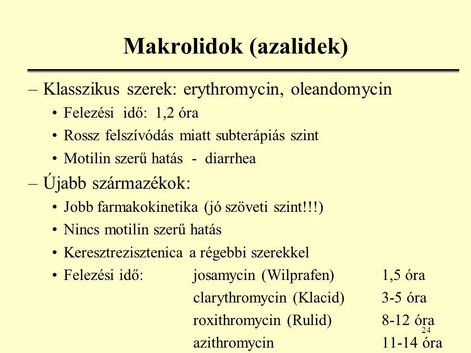 24 Makrolidok (azalidek) –Klasszikus szerek: erythromycin, oleandomycin Felezési idő: 1,2 óra Rossz felszívódás miatt subterápiás szint Motilin szerű hatás - diarrhea –Újabb származékok: Jobb farmakokinetika (jó szöveti szint!!!) Nincs motilin szerű hatás Keresztrezisztenica a régebbi szerekkel Felezési idő:josamycin (Wilprafen)1,5 óra clarythromycin (Klacid)3-5 óra roxithromycin (Rulid)8-12 óra azithromycin11-14 óra