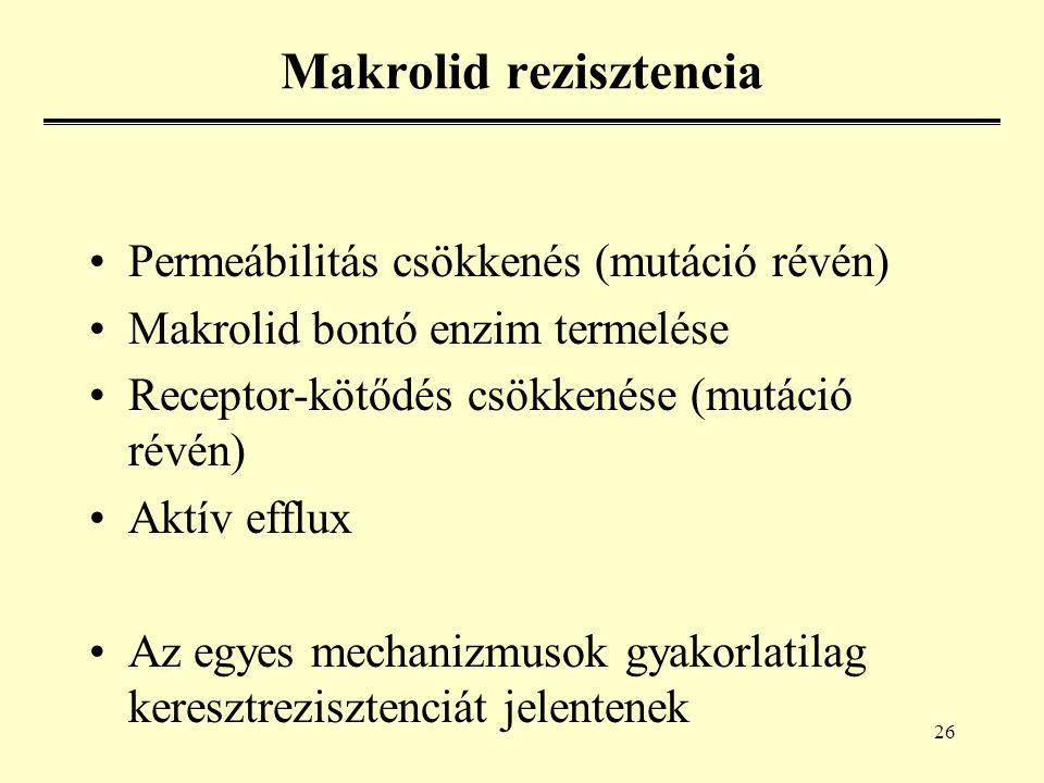 26 Makrolid rezisztencia Permeábilitás csökkenés (mutáció révén) Makrolid bontó enzim termelése Receptor-kötődés csökkenése (mutáció révén) Aktív efflux Az egyes mechanizmusok gyakorlatilag keresztrezisztenciát jelentenek