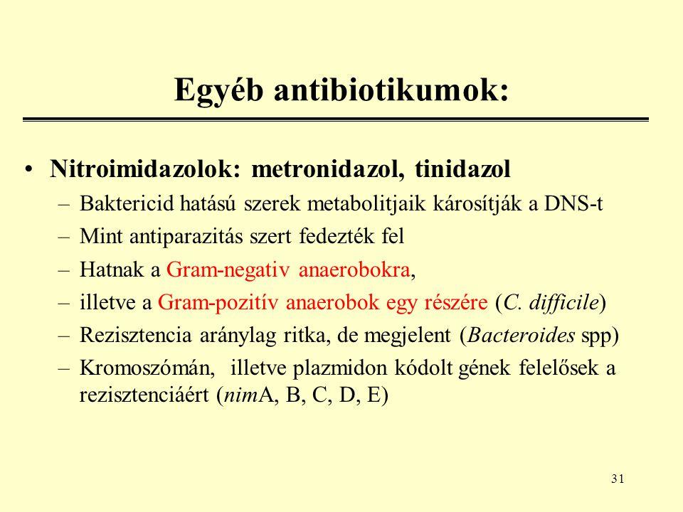 31 Egyéb antibiotikumok: Nitroimidazolok: metronidazol, tinidazol –Baktericid hatású szerek metabolitjaik károsítják a DNS-t –Mint antiparazitás szert fedezték fel –Hatnak a Gram-negativ anaerobokra, –illetve a Gram-pozitív anaerobok egy részére (C.
