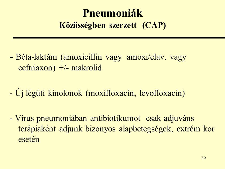 39 Pneumoniák Közösségben szerzett (CAP) - Béta-laktám (amoxicillin vagy amoxi/clav.