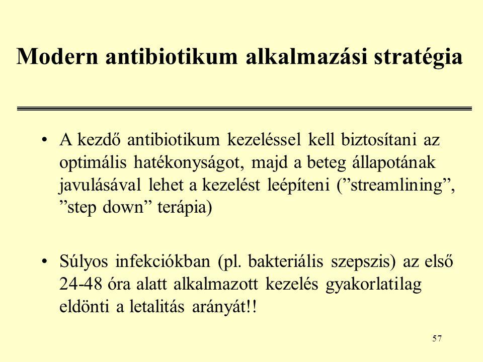 57 Modern antibiotikum alkalmazási stratégia A kezdő antibiotikum kezeléssel kell biztosítani az optimális hatékonyságot, majd a beteg állapotának javulásával lehet a kezelést leépíteni ( streamlining , step down terápia) Súlyos infekciókban (pl.