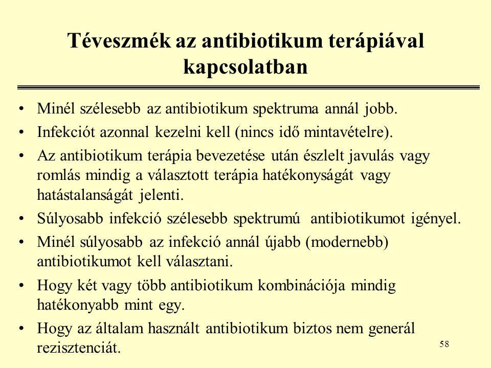 58 Téveszmék az antibiotikum terápiával kapcsolatban Minél szélesebb az antibiotikum spektruma annál jobb.