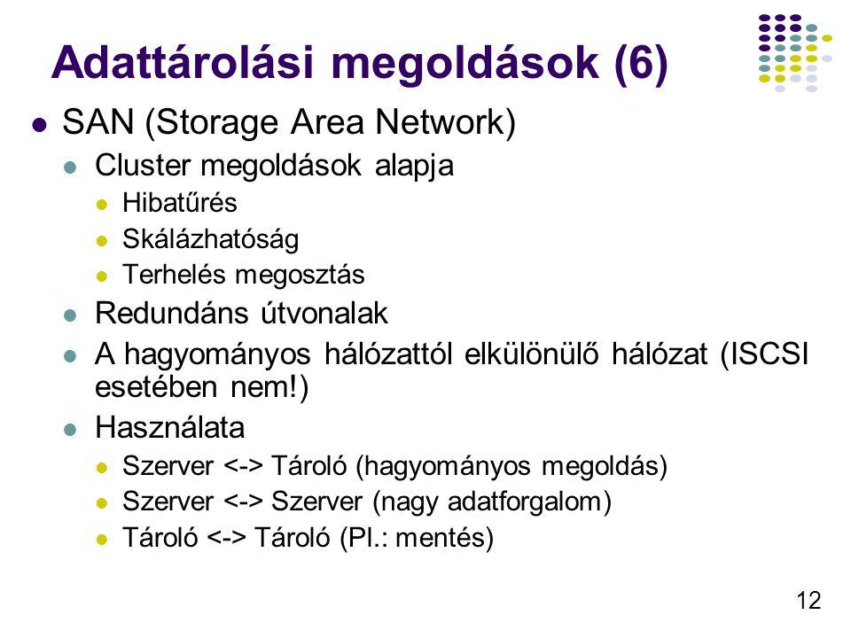 12 Adattárolási megoldások (6) SAN (Storage Area Network) Cluster megoldások alapja Hibatűrés Skálázhatóság Terhelés megosztás Redundáns útvonalak A h