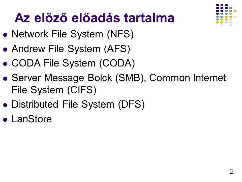 2 Az előző előadás tartalma Network File System (NFS) Andrew File System (AFS) CODA File System (CODA) Server Message Bolck (SMB), Common Internet Fil