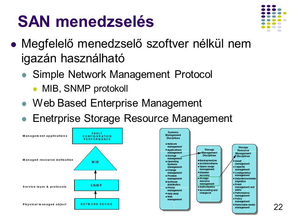 22 SAN menedzselés Megfelelő menedzselő szoftver nélkül nem igazán használható Simple Network Management Protocol MIB, SNMP protokoll Web Based Enterp