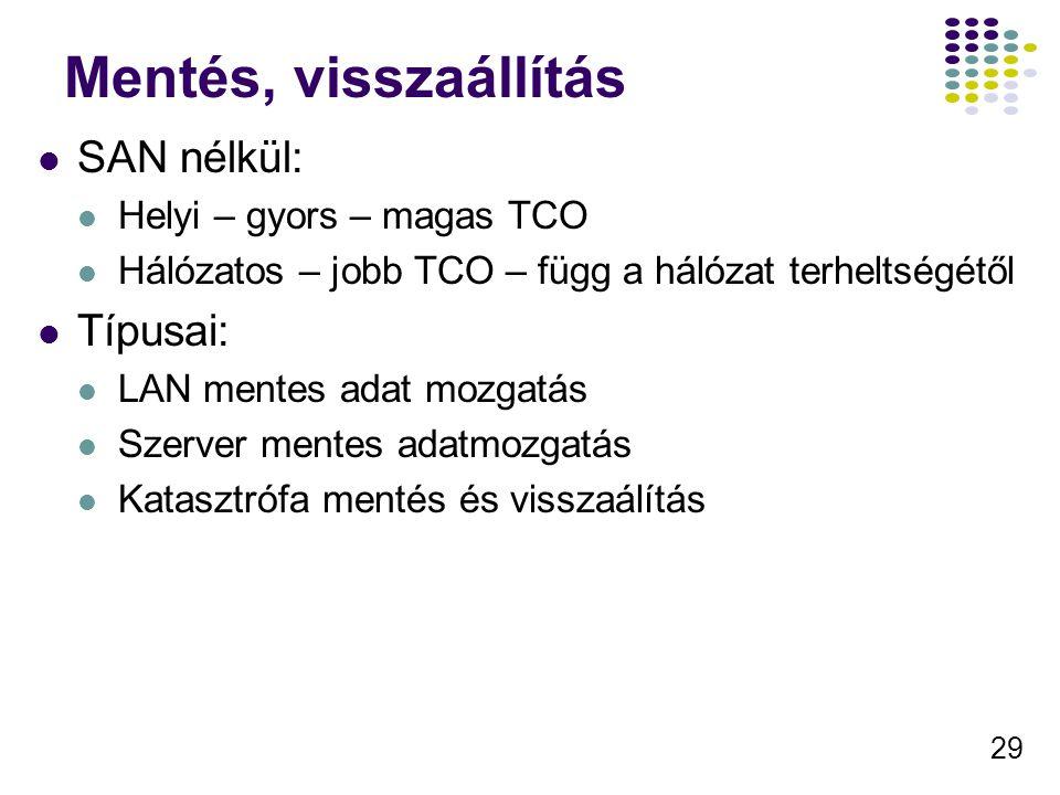 29 Mentés, visszaállítás SAN nélkül: Helyi – gyors – magas TCO Hálózatos – jobb TCO – függ a hálózat terheltségétől Típusai: LAN mentes adat mozgatás