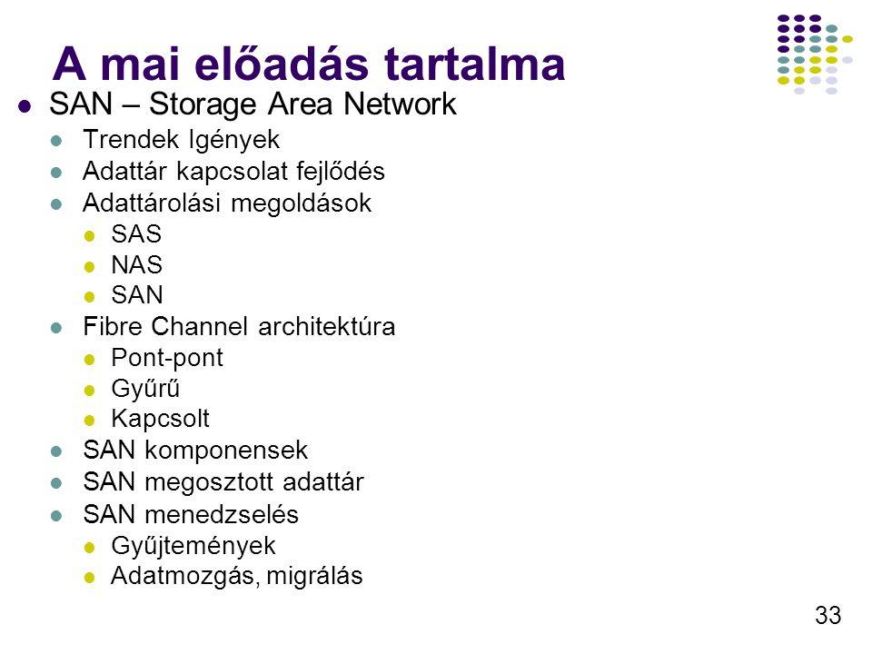33 A mai előadás tartalma SAN – Storage Area Network Trendek Igények Adattár kapcsolat fejlődés Adattárolási megoldások SAS NAS SAN Fibre Channel arch