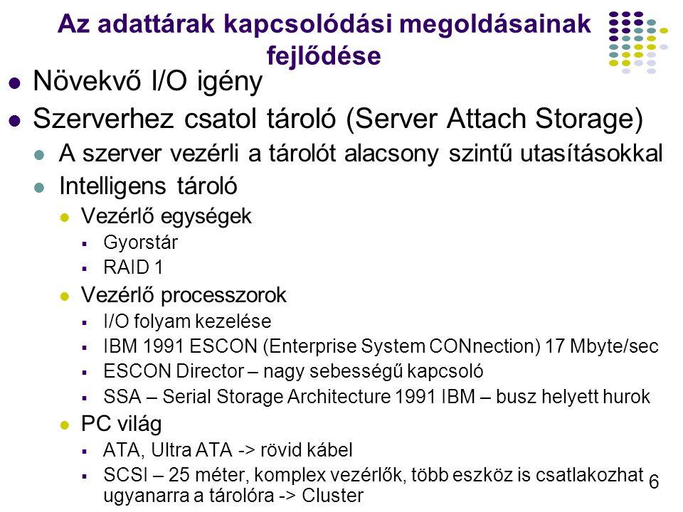 6 Az adattárak kapcsolódási megoldásainak fejlődése Növekvő I/O igény Szerverhez csatol tároló (Server Attach Storage) A szerver vezérli a tárolót ala
