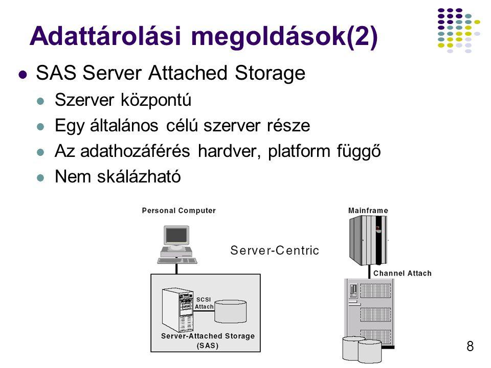 8 Adattárolási megoldások(2) SAS Server Attached Storage Szerver központú Egy általános célú szerver része Az adathozáférés hardver, platform függő Ne