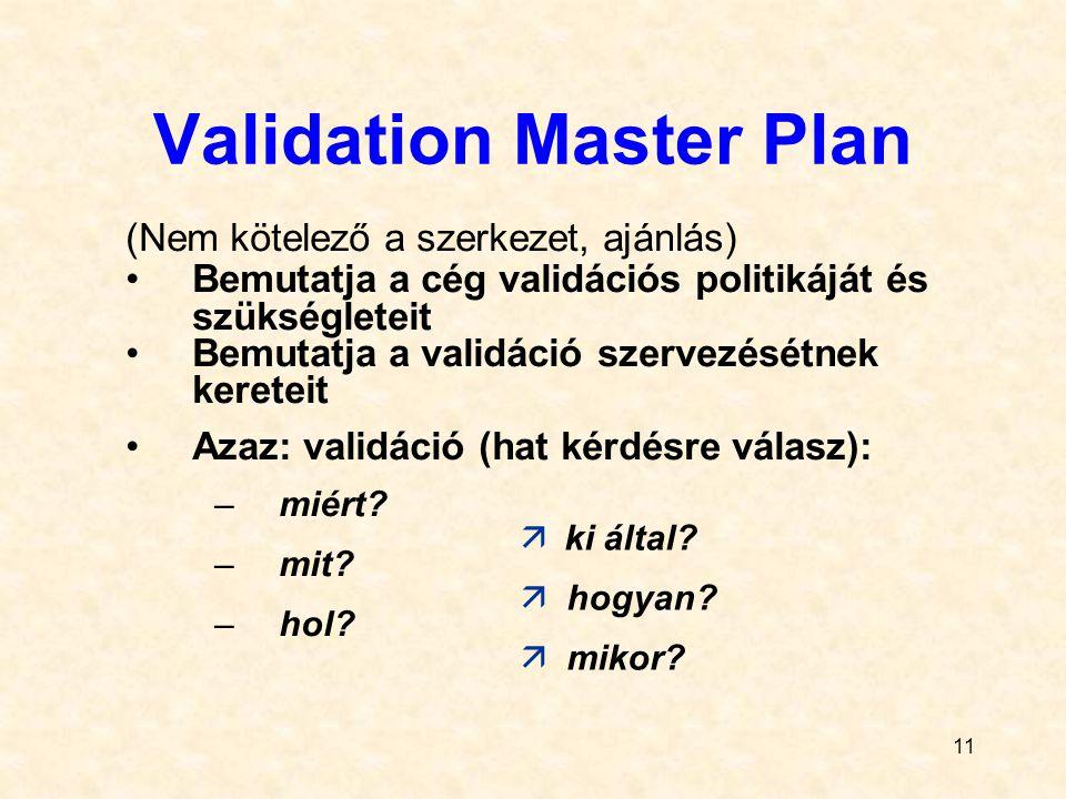 11 Validation Master Plan (Nem kötelező a szerkezet, ajánlás) Bemutatja a cég validációs politikáját és szükségleteit Bemutatja a validáció szervezésé