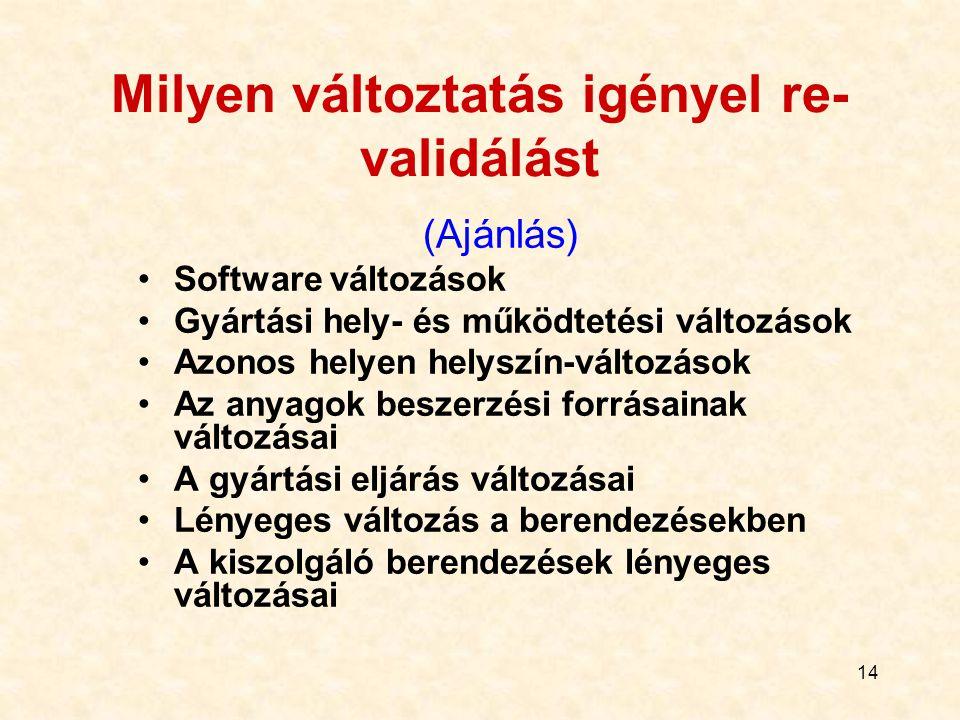 14 Milyen változtatás igényel re- validálást (Ajánlás) Software változások Gyártási hely- és működtetési változások Azonos helyen helyszín-változások