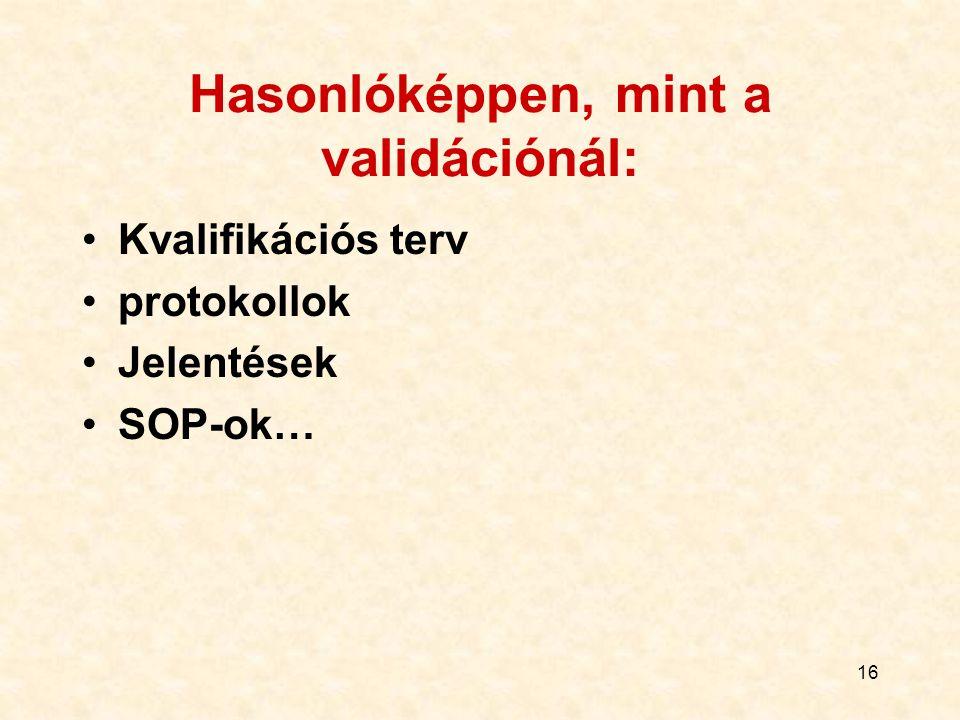 16 Hasonlóképpen, mint a validációnál: Kvalifikációs terv protokollok Jelentések SOP-ok…