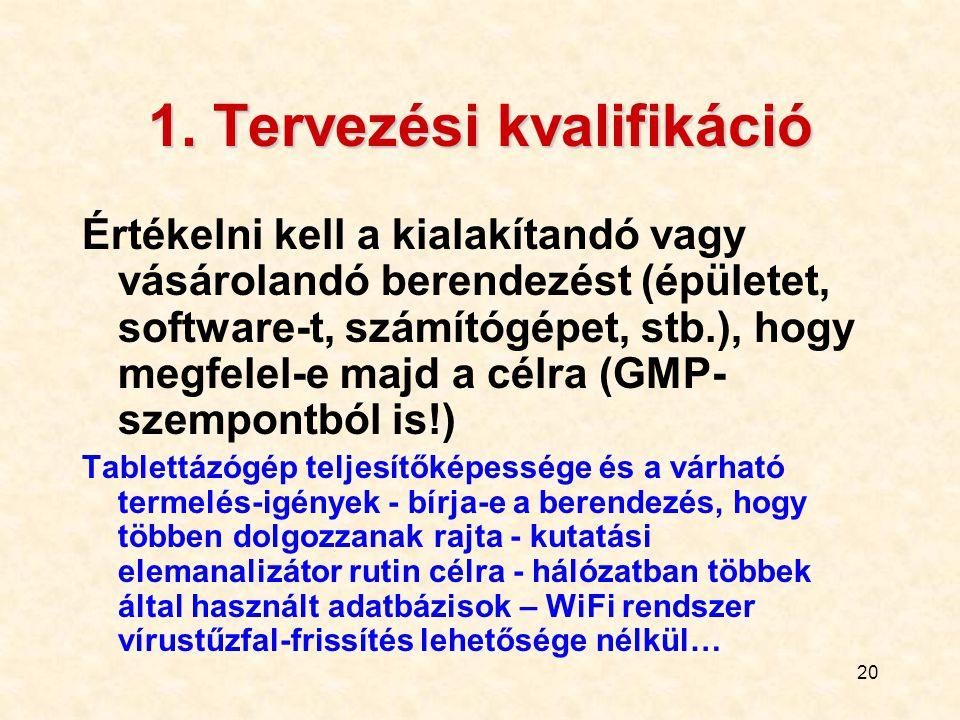 20 1. Tervezési kvalifikáció Értékelni kell a kialakítandó vagy vásárolandó berendezést (épületet, software-t, számítógépet, stb.), hogy megfelel-e ma