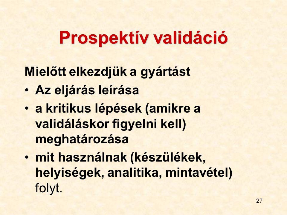 27 Prospektív validáció Mielőtt elkezdjük a gyártást Az eljárás leírása a kritikus lépések (amikre a validáláskor figyelni kell) meghatározása mit has