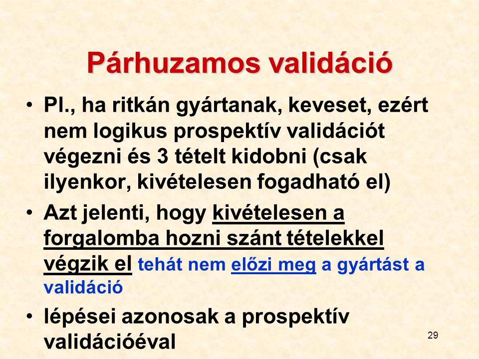29 Párhuzamos validáció Pl., ha ritkán gyártanak, keveset, ezért nem logikus prospektív validációt végezni és 3 tételt kidobni (csak ilyenkor, kivétel