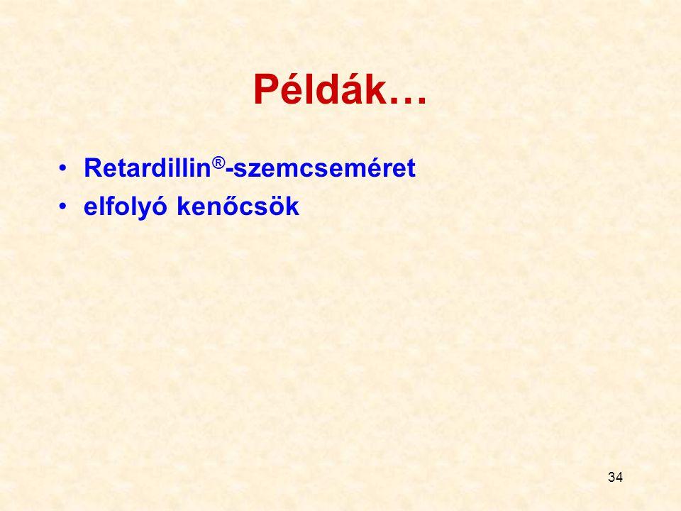 34 Példák… Retardillin ® -szemcseméret elfolyó kenőcsök