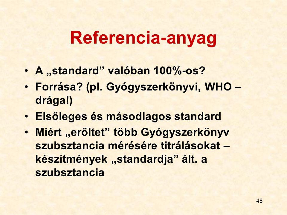 """48 Referencia-anyag A """"standard"""" valóban 100%-os? Forrása? (pl. Gyógyszerkönyvi, WHO – drága!) Elsőleges és másodlagos standard Miért """"erőltet"""" több G"""