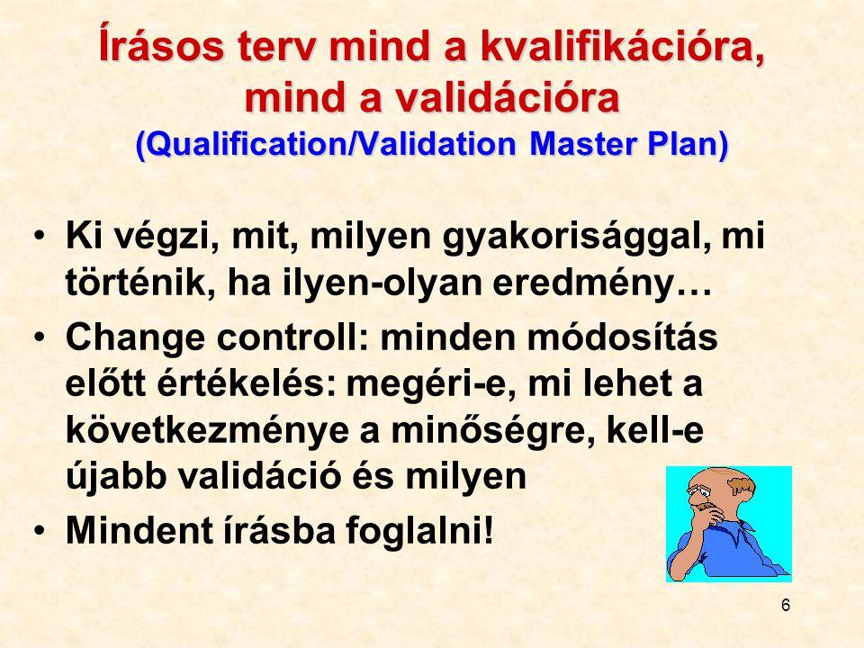 6 Írásos terv mind a kvalifikációra, mind a validációra (Qualification/Validation Master Plan) Ki végzi, mit, milyen gyakorisággal, mi történik, ha il