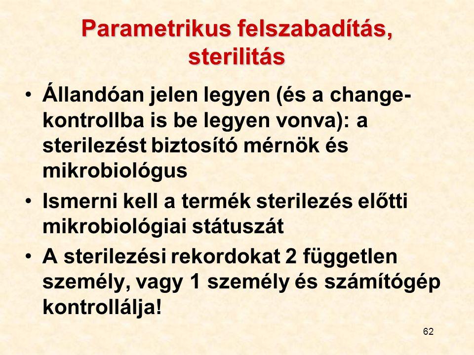62 Parametrikus felszabadítás, sterilitás Állandóan jelen legyen (és a change- kontrollba is be legyen vonva): a sterilezést biztosító mérnök és mikro