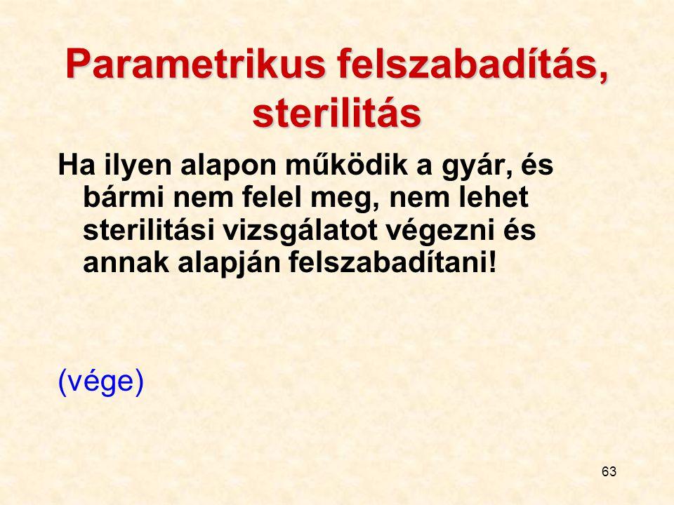 63 Parametrikus felszabadítás, sterilitás Ha ilyen alapon működik a gyár, és bármi nem felel meg, nem lehet sterilitási vizsgálatot végezni és annak a