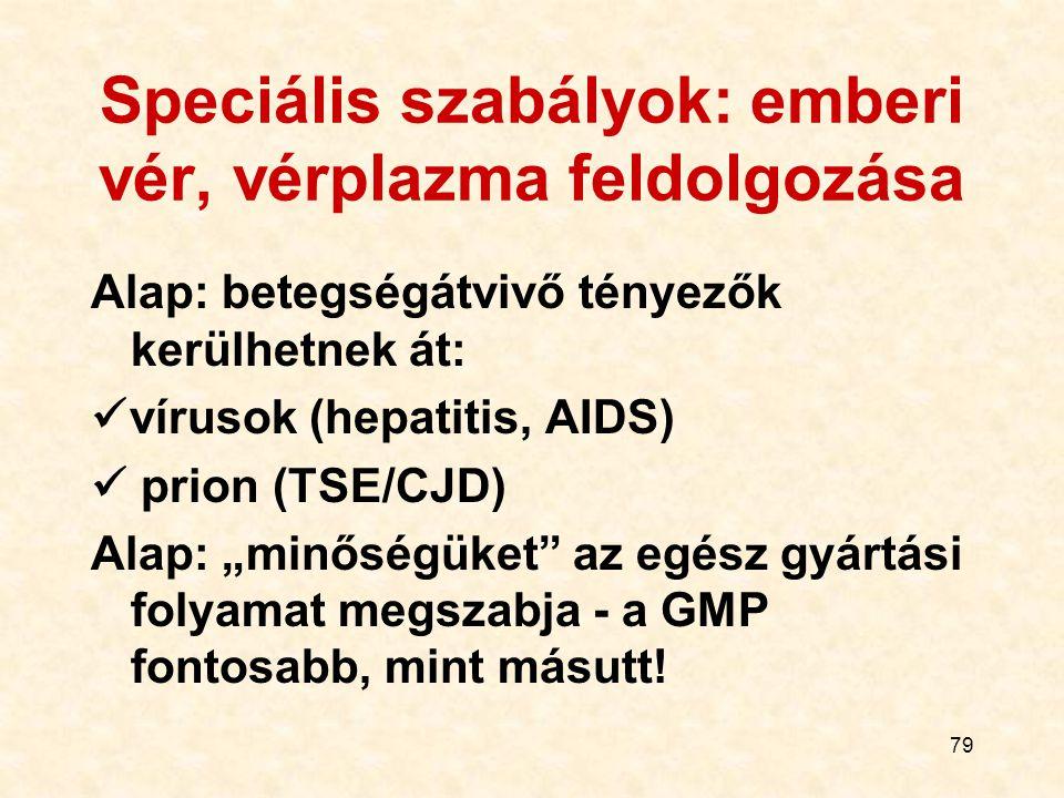 79 Speciális szabályok: emberi vér, vérplazma feldolgozása Alap: betegségátvivő tényezők kerülhetnek át: vírusok (hepatitis, AIDS) prion (TSE/CJD) Ala