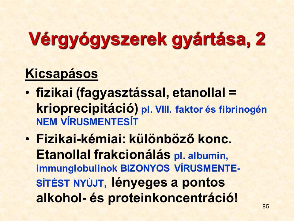 85 Vérgyógyszerek gyártása, 2 Kicsapásos fizikai (fagyasztással, etanollal = krioprecipitáció) pl. VIII. faktor és fibrinogén NEM VÍRUSMENTESÍT Fizika