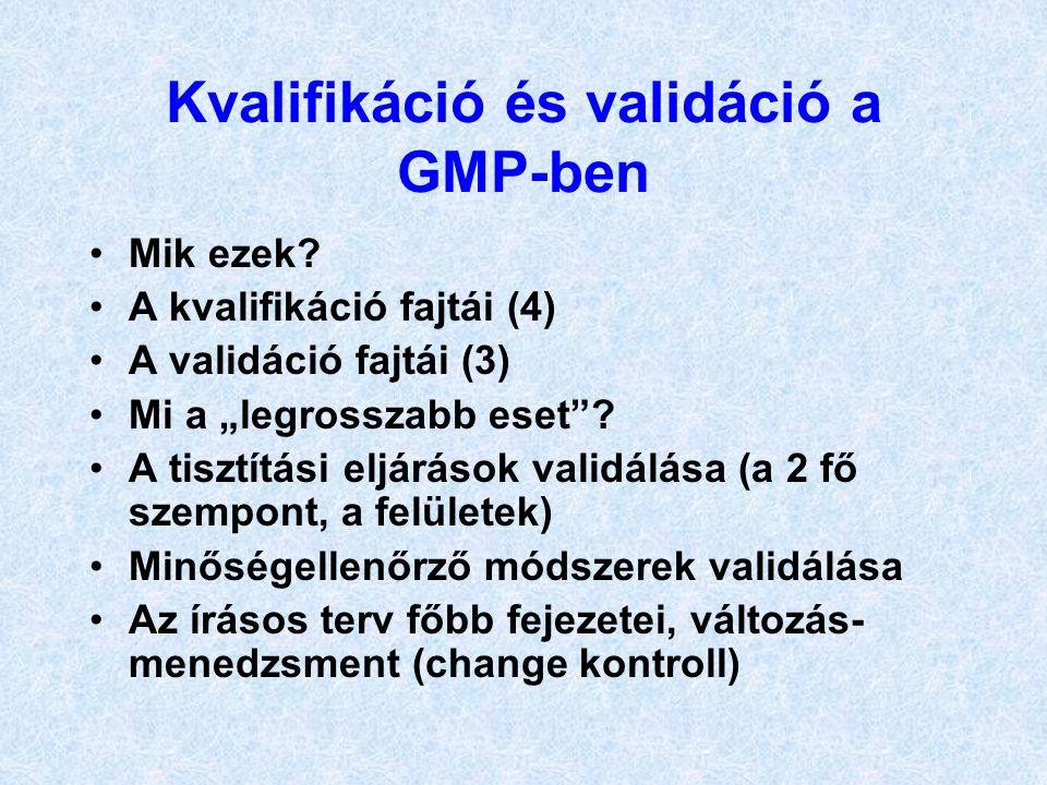 """Kvalifikáció és validáció a GMP-ben Mik ezek? A kvalifikáció fajtái (4) A validáció fajtái (3) Mi a """"legrosszabb eset""""? A tisztítási eljárások validál"""