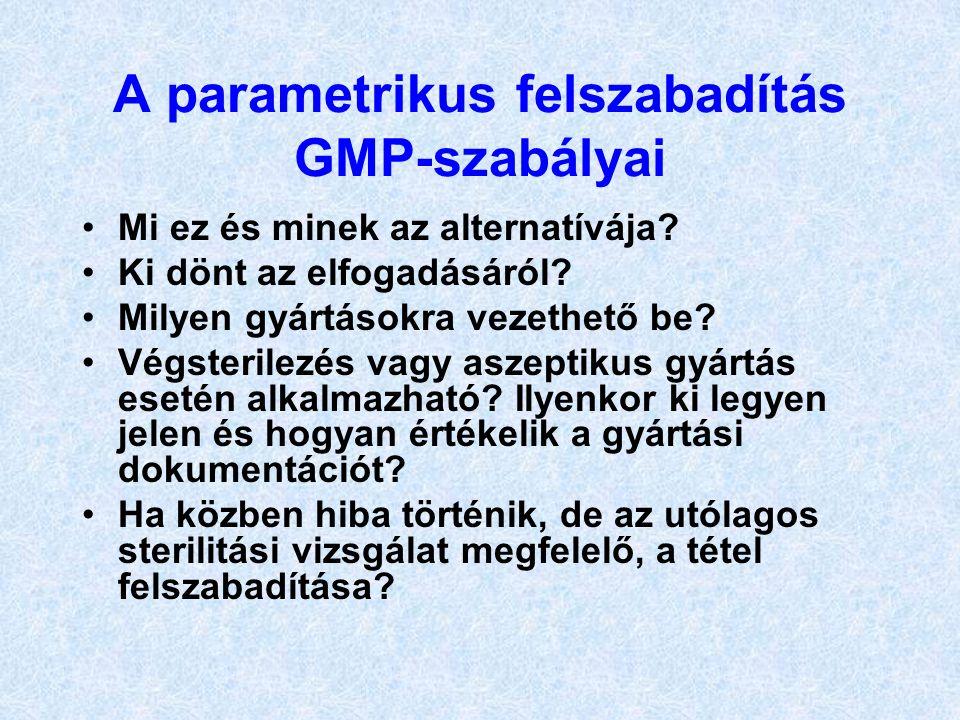 A parametrikus felszabadítás GMP-szabályai Mi ez és minek az alternatívája? Ki dönt az elfogadásáról? Milyen gyártásokra vezethető be? Végsterilezés v