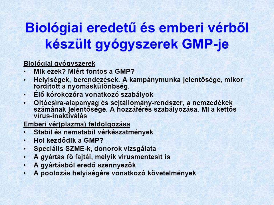 Biológiai eredetű és emberi vérből készült gyógyszerek GMP-je Biológiai gyógyszerek Mik ezek? Miért fontos a GMP? Helyiségek, berendezések. A kampánym