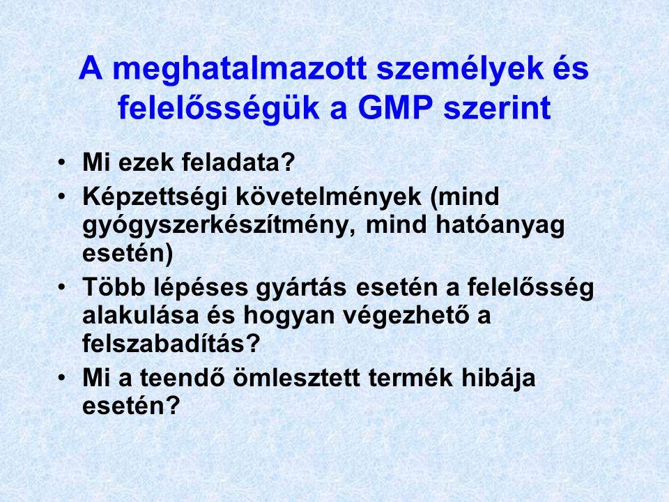 A meghatalmazott személyek és felelősségük a GMP szerint Mi ezek feladata? Képzettségi követelmények (mind gyógyszerkészítmény, mind hatóanyag esetén)