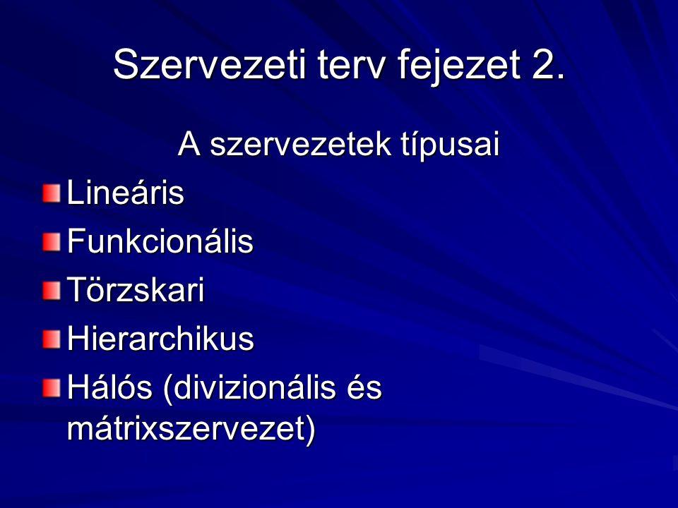Szervezeti terv fejezet 2. A szervezetek típusai LineárisFunkcionálisTörzskariHierarchikus Hálós (divizionális és mátrixszervezet)