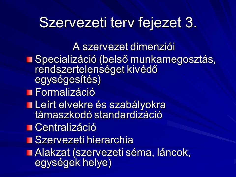 Szervezeti terv fejezet 3. A szervezet dimenziói Specializáció (belső munkamegosztás, rendszertelenséget kivédő egységesítés) Formalizáció Leírt elvek