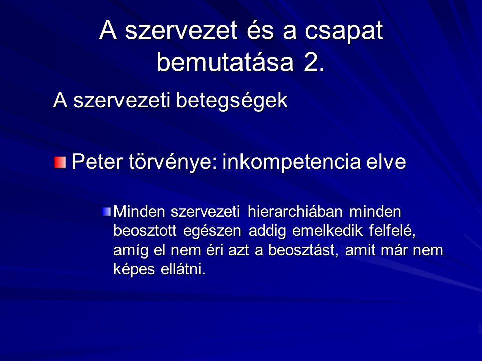 A szervezet és a csapat bemutatása 2. A szervezeti betegségek Peter törvénye: inkompetencia elve Minden szervezeti hierarchiában minden beosztott egés