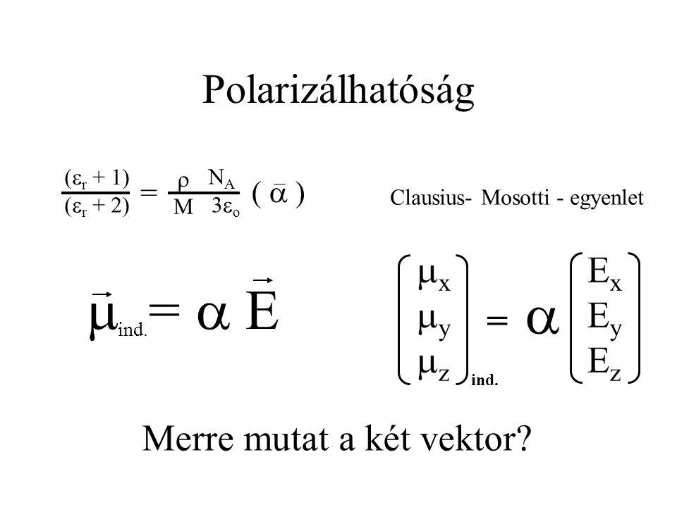 Polarizálhatóság  ind. =  E Merre mutat a két vektor? ExEyEzExEyEz xyzxyz =  ind. Clausius- Mosotti - egyenlet (  ) 3o3o (  r + 1) (  r
